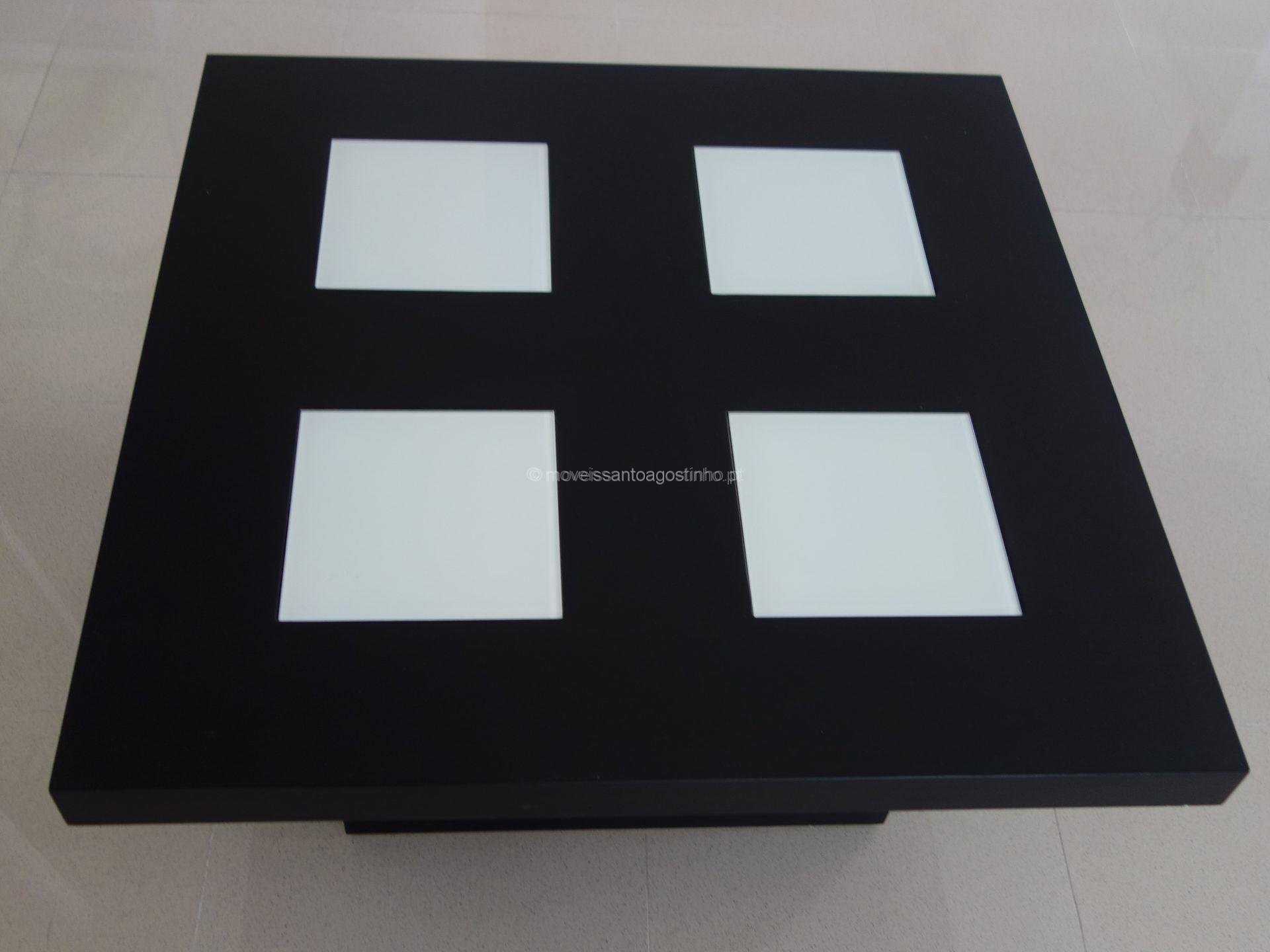 Mesa de centro quadrada 4 vidros